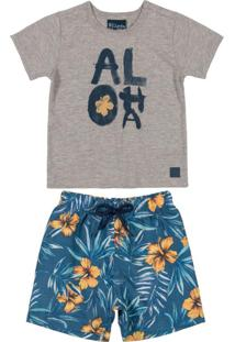 Conjunto Bebê Menino Aloha Cinza
