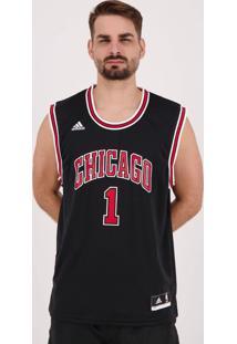 Regata Adidas Nba Chicago Bulls Preta E Vermelha