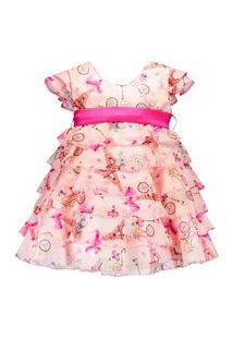 Vestido Infantil Pipoca Doce Babados Rosa