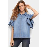Camisa Jeans Colcci Manga Curta Feminina - Feminino-Azul Piscina 400a2256425e4
