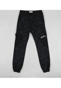 Calça De Sarja Juvenil Jogger Estampada Camuflada Com Cordão Preta