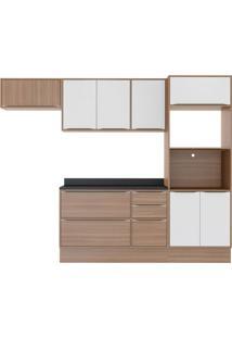 Cozinha Compacta Uner Ii 8 Pt 4 Gv Nogueira E Branco