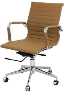 Cadeira Eames Baixa Caramelo Base Cromada - 25387 Sun House