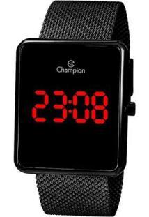 Relógio Digital Champion Quadrado - Unissex-Preto