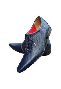 Sapato Masculino Italiano Oxford Em Couro Art Sapatos Azul