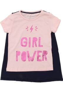 Camiseta Fun Friends Kids Girl Power Rosa
