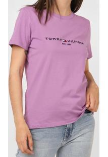 Camiseta Tommy Hilfiger Bordada Lilás
