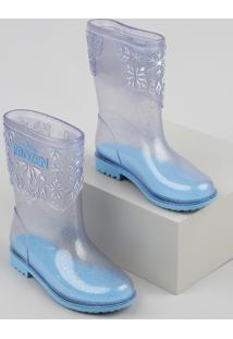 Bota Galocha Infantil Frozen Transparente Com Glitter Azul Claro