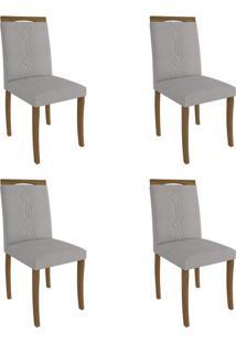 Conjunto Com 4 Cadeiras De Jantar Laura Linho Madeira E Aspen