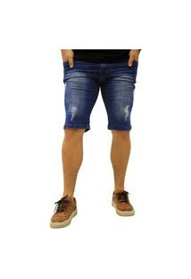 Bermuda Jeans Elite Lux Azul Rasgado