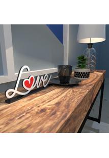 Escultura De Mesa Branco Love Drawing Com Coração Em Acrílico Vermelho Único