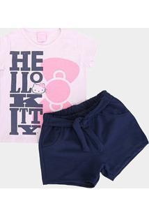 Conjunto Infantil Hello Kitty Lettering Laço Feminino - Feminino