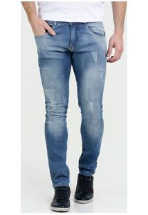 Calça Masculina Jeans Stretch Puídos Skinny Biotipo
