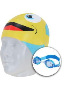 Kit De Natação Speedo Fish Combo Com Óculos + Touca - Infantil - Azul Claro 2abdbd047cedd