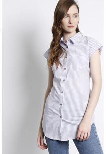 Camisa Listrada Com Bolso- Lilás   Branca- Susan Zhesusan Zheng 7faeb1b1a8