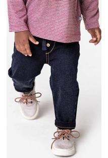 Calça Jeans Bebê Menino Com Botão E Cadarço Hering Kids