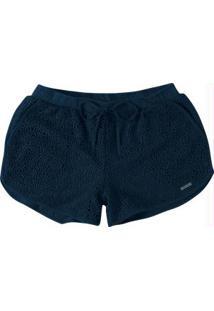 Shorts Azul Comfort Em Renda