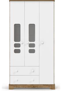 Roupeiro 3 Portas Smart Branco-Acetinado E Teka Matic
