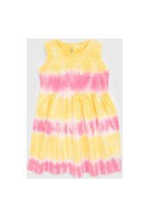Vestido Gap Infantil Tie Dye Amarelo/Rosa