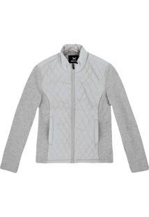Jaqueta Feminina Em Mix De Tecidos E Textura Em Matelassê