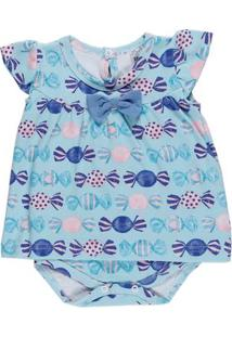 Body Infantil Para Bebê Menina - Azul
