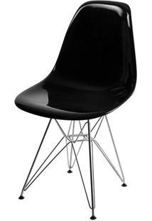 Cadeira Dkr Eames Policarbonato Preto Base Aço Inox - 39716 - Sun House
