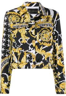 Versace Barocco Print Denim Jacket - Preto