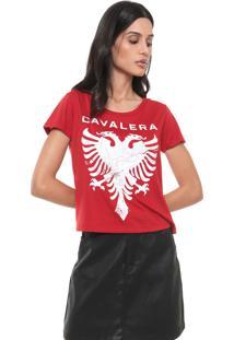 Camiseta Cavalera Águia Craquelada Vermelha