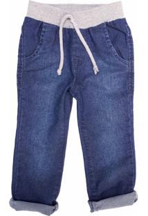 Calça Jeans Com Cós De Malha Mister Boy Azul - Kanui