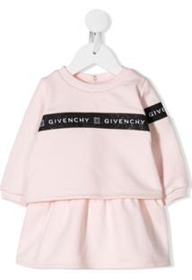 Givenchy Kids Vestido Suéter Com Logo - Rosa