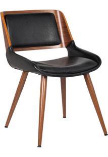 Cadeira Decorativa Escritório Recepção New Design Pés Madeira Preta - Gran Belo