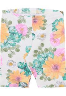Bermuda Elian Menina Floral Branca