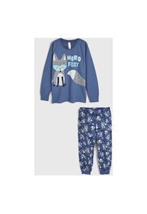 Pijama Malwee Liberta Longo Infantil Raposa Azul