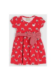 Vestido Milon Infantil Lhama Vermelho