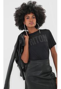 Camiseta Triton Tule Aplicaã§Ãµes Preta - Preto - Feminino - Viscose - Dafiti