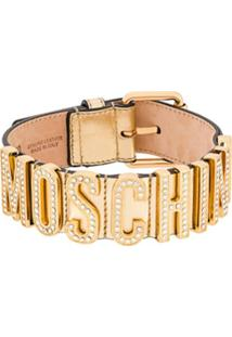 Moschino Choker Com Logo E Aplicações - Dourado