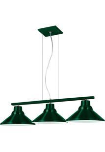 Pendente 6033 Redondo 3 Lâmpadas Verde Bivolt Pantoja&Carmona