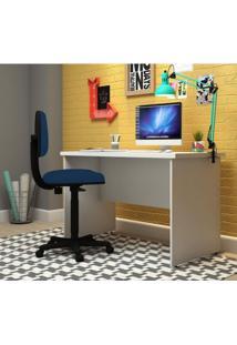 Conjunto Para Escritório Com Mesa Slim E Cadeira Executiva Super Pop Siena Móveis Branco/Azul