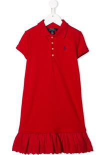 Ralph Lauren Kids Vestido Polo Com Logo Bordado E Babados Na Barra - Vermelho