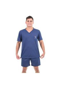 Pijama 4 Estações Manga Curta Short Adulto Veráo Masculino Conforto Liso Azul Aço