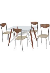 Conjunto De Mesa Com 4 Cadeiras Bárbara Corino Marrom E Cromado