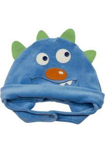 Touca Bebê Plush Monstrinho Ano Zero - Masculino-Azul
