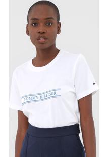 Camiseta Tommy Hilfiger Violet C-Nk Branca - Branco - Feminino - Algodã£O - Dafiti