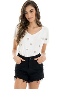 T-Shirt La Mandinne Bordada Stars Off White