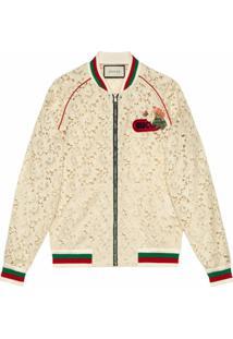 Gucci Jaqueta Bomber De Renda Floral - Branco