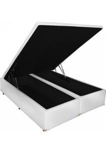 Cama Box Baú Bipartido Queem 158X198 Corino Branco Master Box Design (Tampo Inteiro)