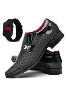 Sapato Social Masculino Db Now Com Relógio Led Dubuy 829Od Preto