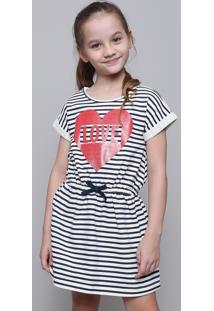 Vestido Infantil Em Moletom Listrado Com Laço Manga Curta Off White