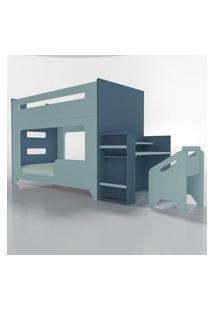 Conjunto Lumi - Beliche+Escrivaninha Azul Timber