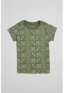 Camiseta Infantil Carimbos Reserva Mini Feminina - Feminino-Verde Militar